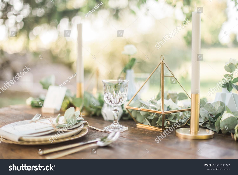 Luxury Wedding Reception Dinning Table Setup Stock Photo Edit Now 1216143247