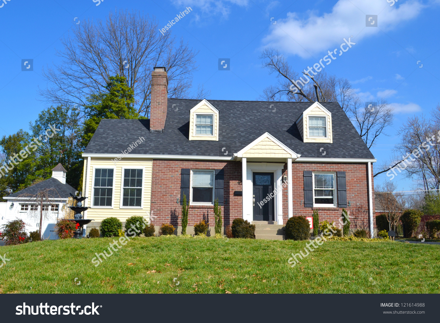 Small Red Brick American Home Stock Photo 121614988