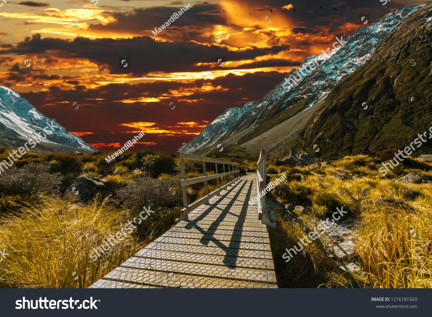 Pedestrian walkway with sunset background #1216181569