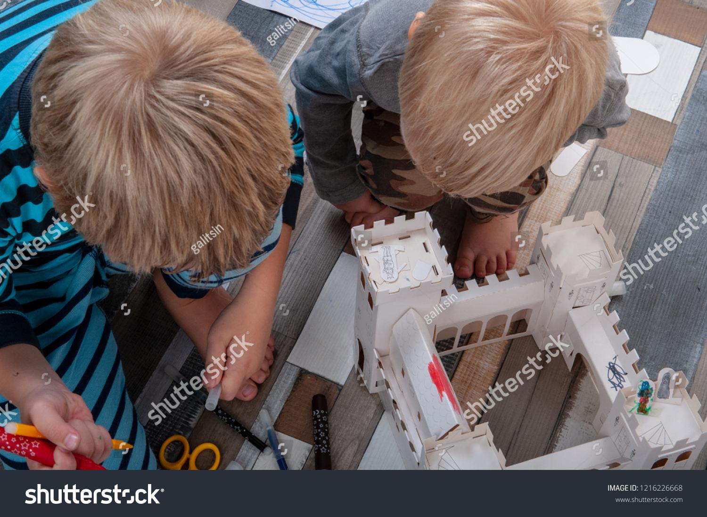 Happy Boys Build Vintage Cardboard Castle Stock Photo (Edit ...