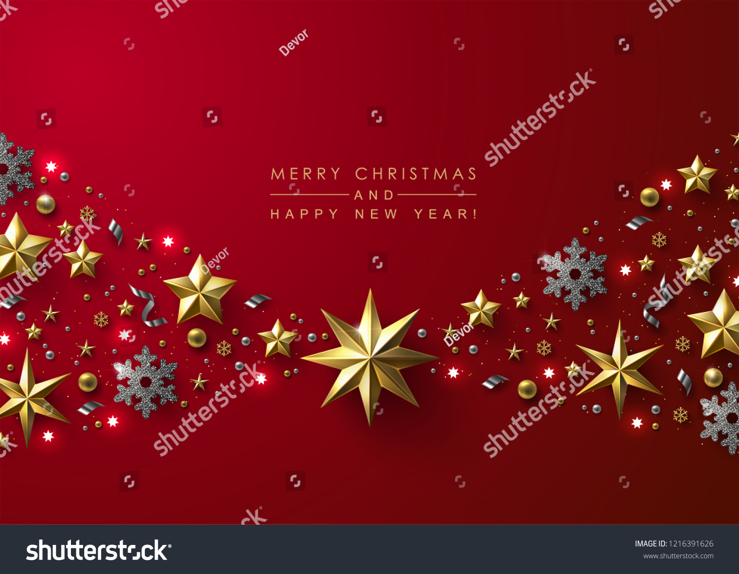 Red Christmas Background with Border made of Cutout Gold Foil Stars and Silver Snowflakes. Chic Christmas Greeting Card. #1216391626
