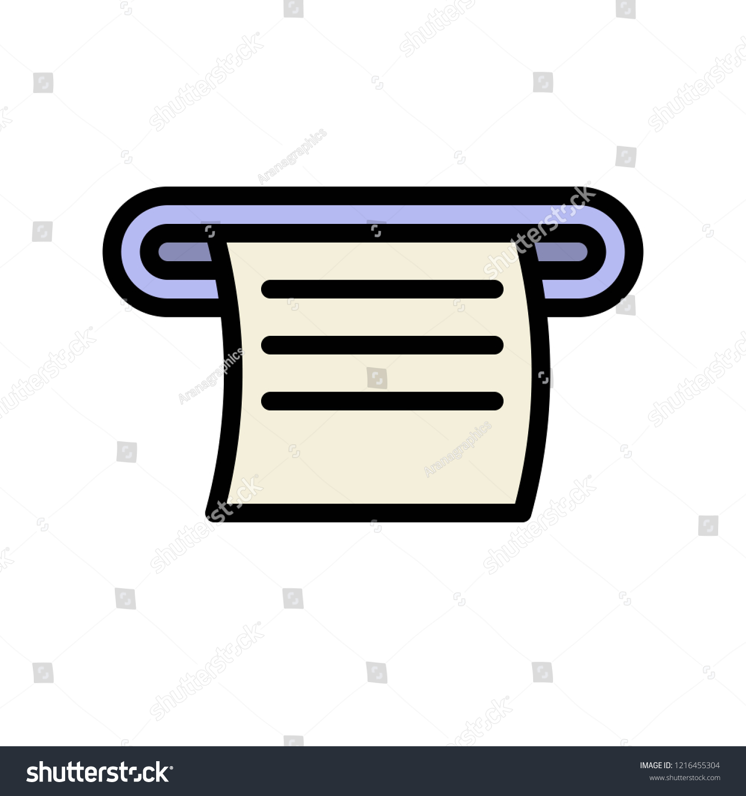Receipt Paper Editable Outline Icon Business Stock Vector Royalty Free 1216455304