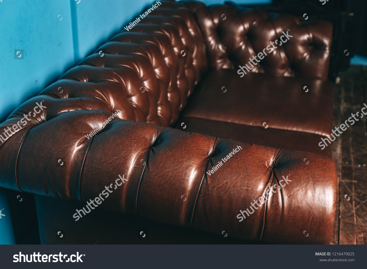 Luxurious Leather Brown Sofa Blue Wall Stock Photo Edit Now 1216479025