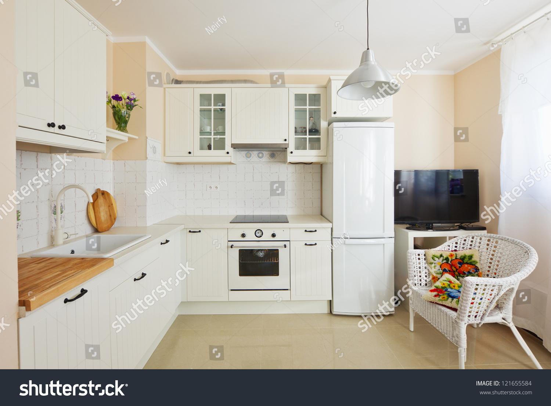 White Modern Kitchen Room Antique Rustique Photo 121655584 – Kitchen Room