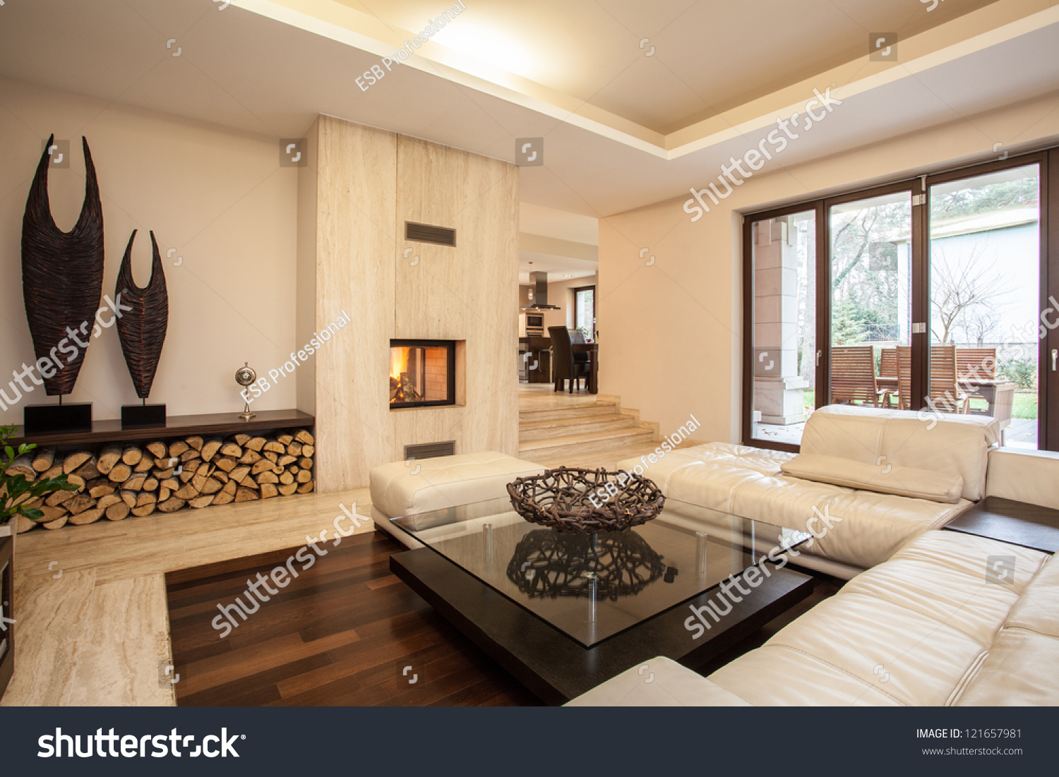 travertine house interior beige living room stock photo 121657981