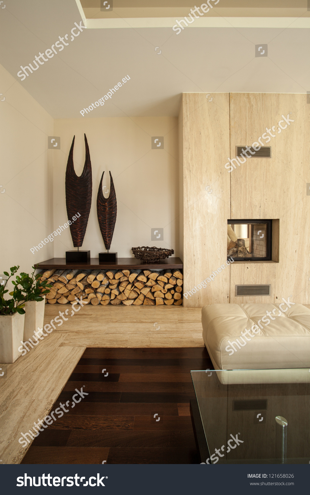 travertine house vertical view of living room interior stock