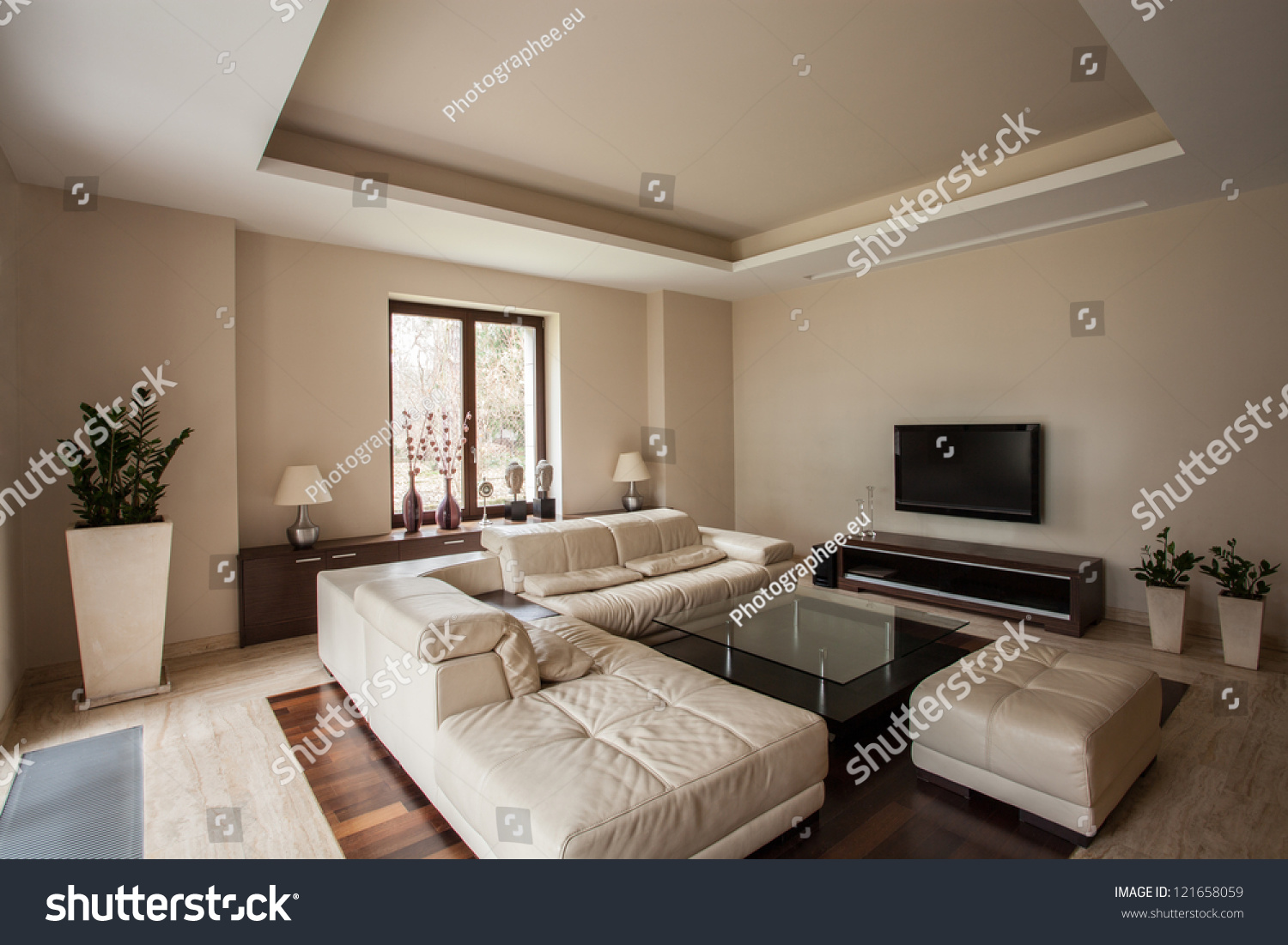 travertine house horizontal view of a living room interior stock