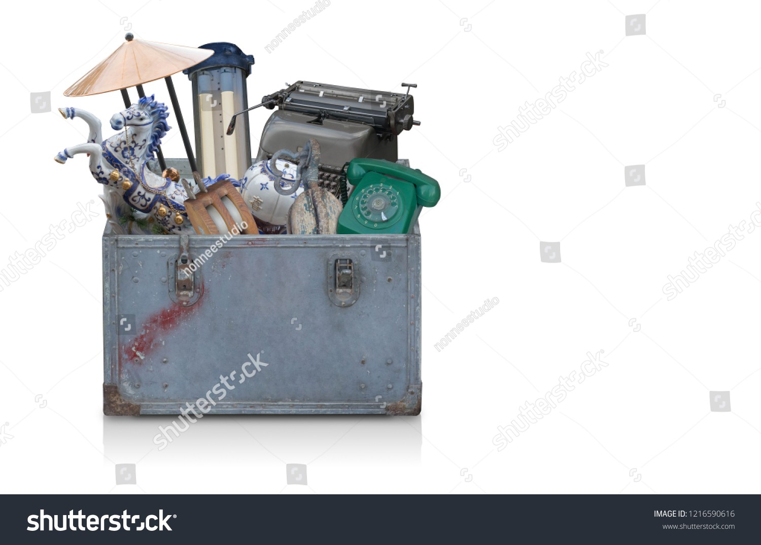 antique objects in old blue steel box on white background,copy space #1216590616