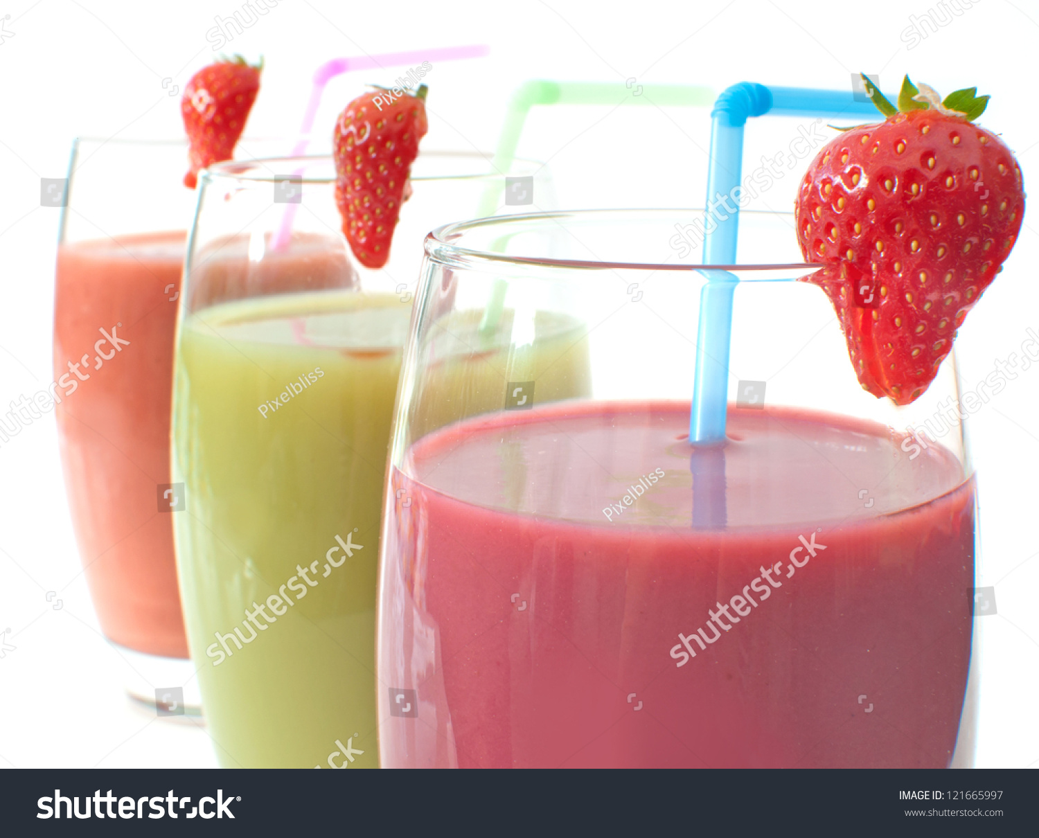 Three Different Flavoured Fruit Smoothies Stock Photo ...