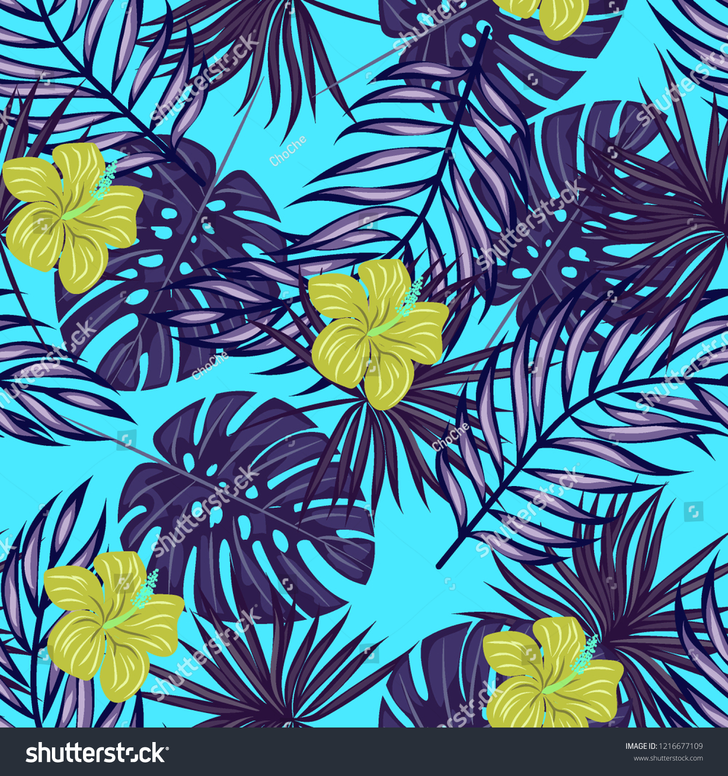 Tropical Seamless Ethnic Pattern Exotic Leaves Stock Vector