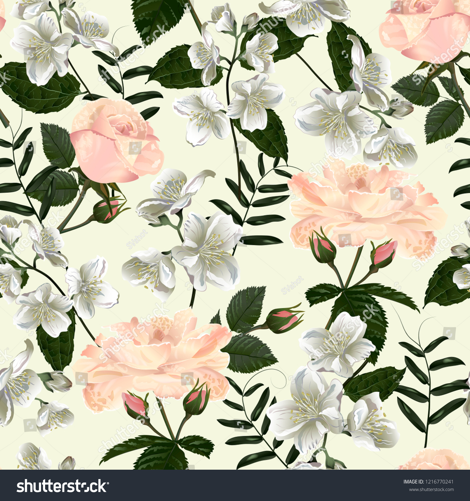 Seamless Pattern Jasmine Flowers Modern Floral Stock Vector