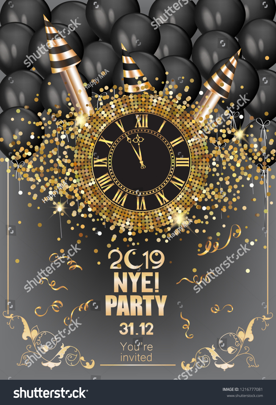 new year eve party invitation card stock vector royalty free