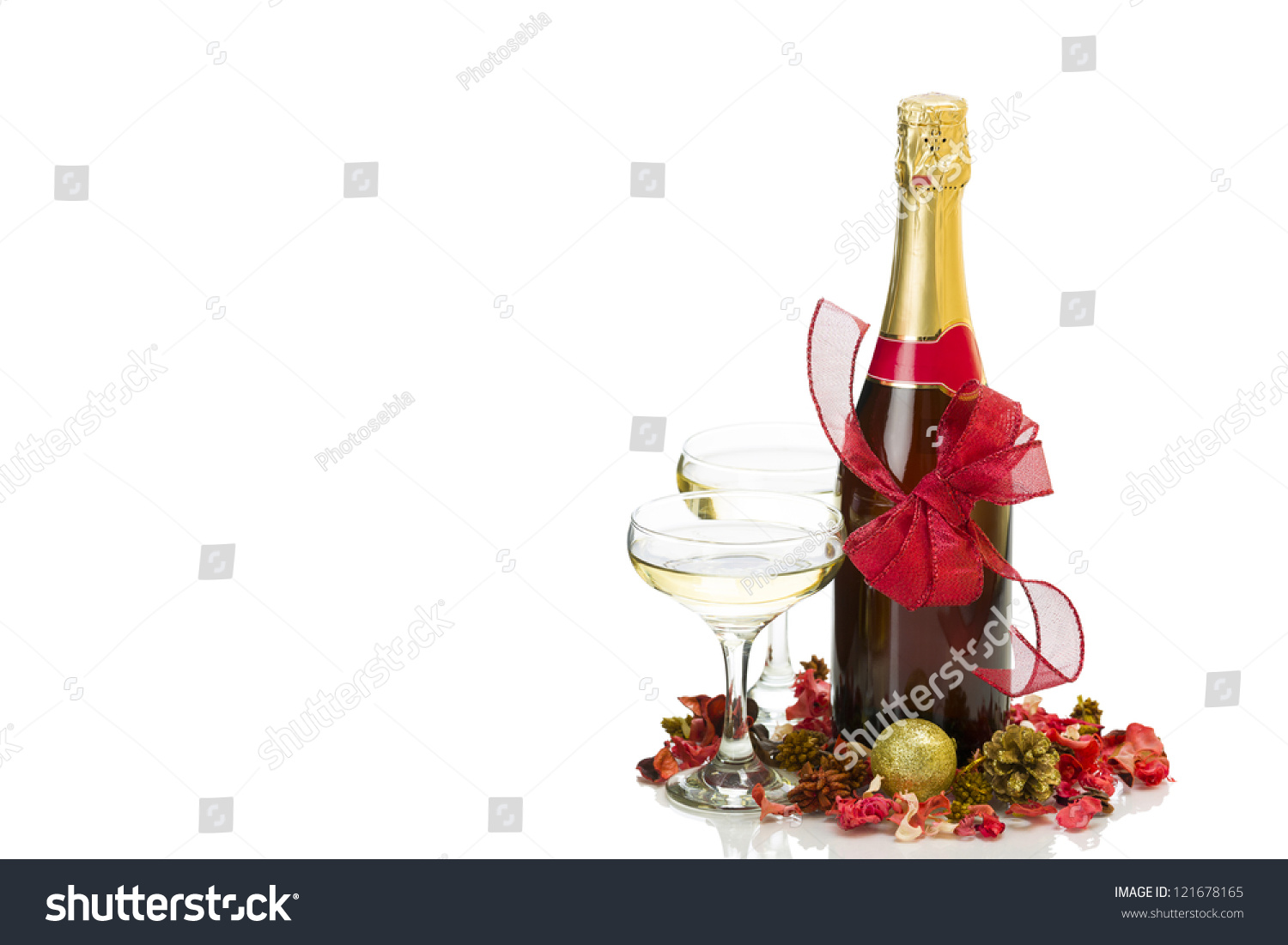 Champagne Bottle Decoration New Years Day Champagne Bottle Two Glasses And Decoration Over