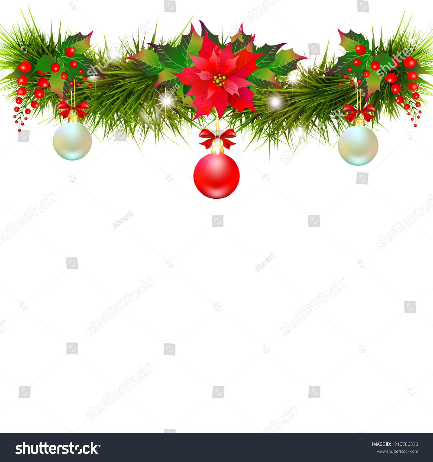Christmas garland with poinsettia and cotton flowers, isolated on a white #1216786330