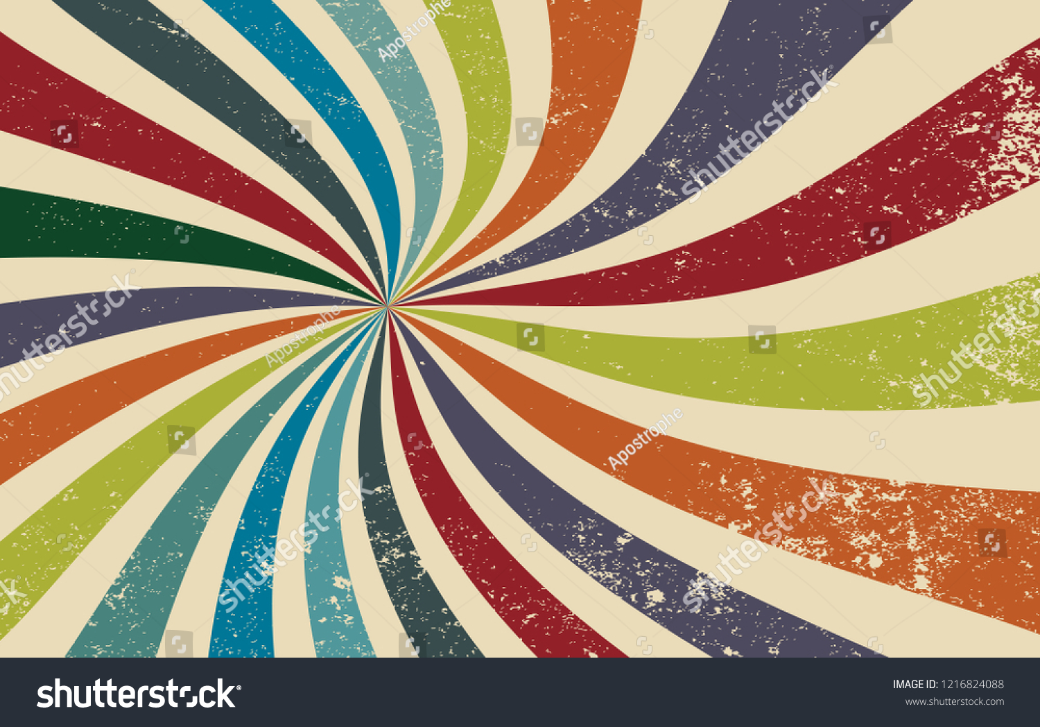 retro grunge starburst or sunburst background vector pattern with a dark vintage color palette of red orange blue green and beige white in a spiral or swirled radial striped design