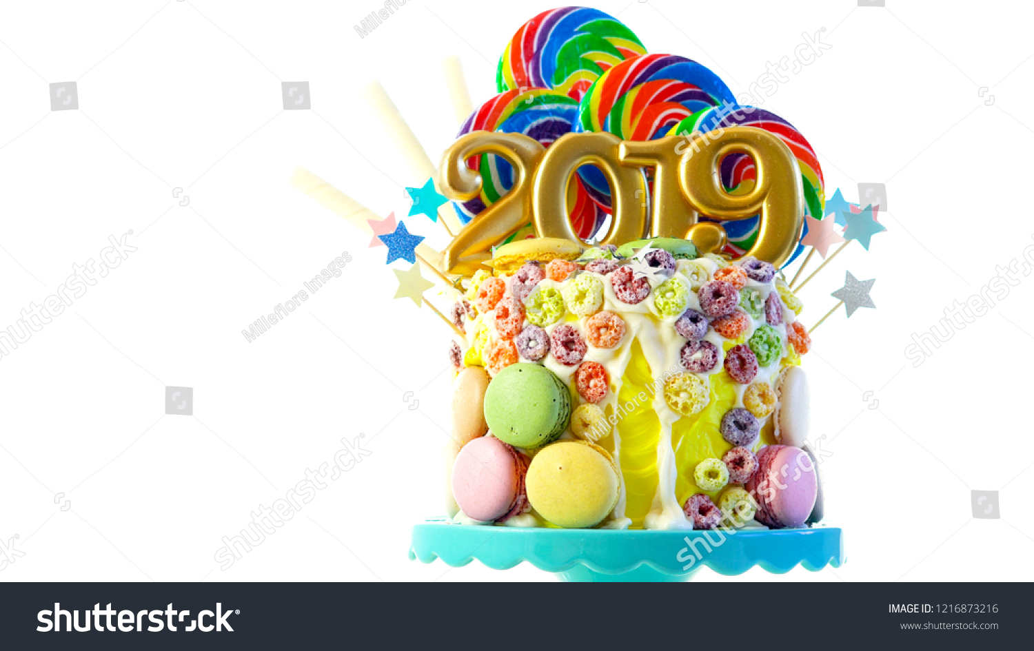 Happy New Years Candy Land Lollipop Stock Photo Edit Now