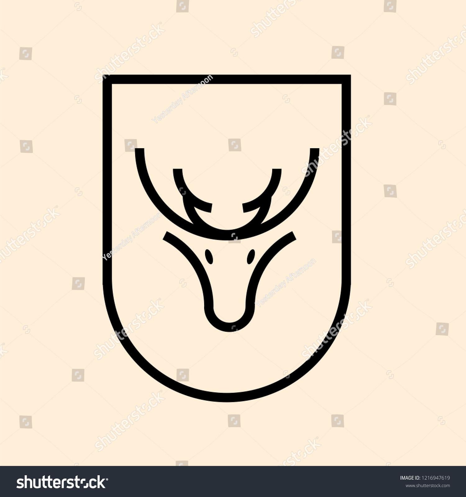 Inspirational Line Art Design Of Reindeer Head Vector Icon Template Illustration In Curvy Frame