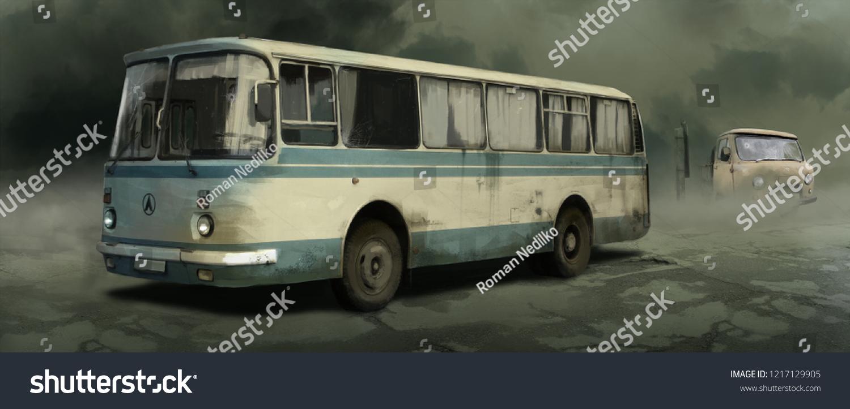 5c54e32bb09fde Abandoned Old Soviet Bus Stock Illustration - Royalty Free Stock ...