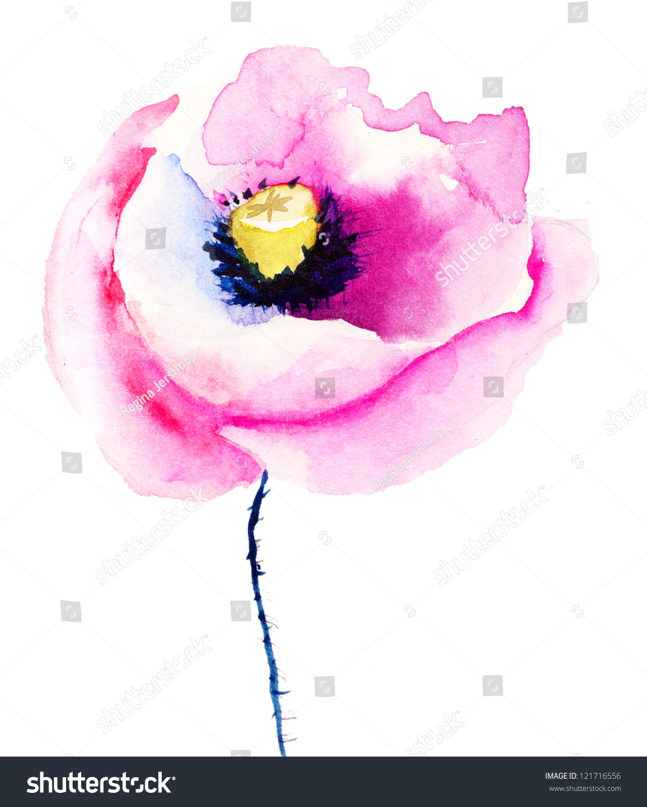 Watercolor Of Pink Poppies On Flowerbed Stock Illustration ... |Watercolor Poppies Pink