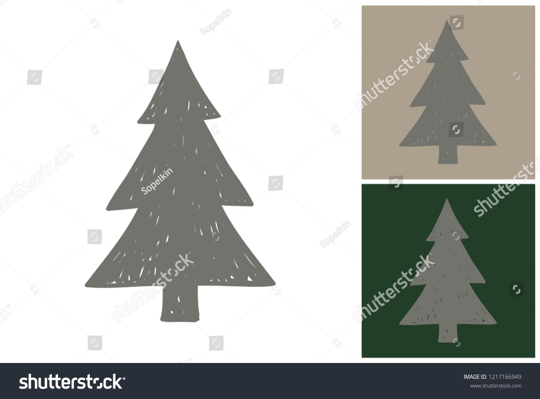 Gray Christmas Tree Hand Drawn Retro Stock Vector Royalty Free 1217166949