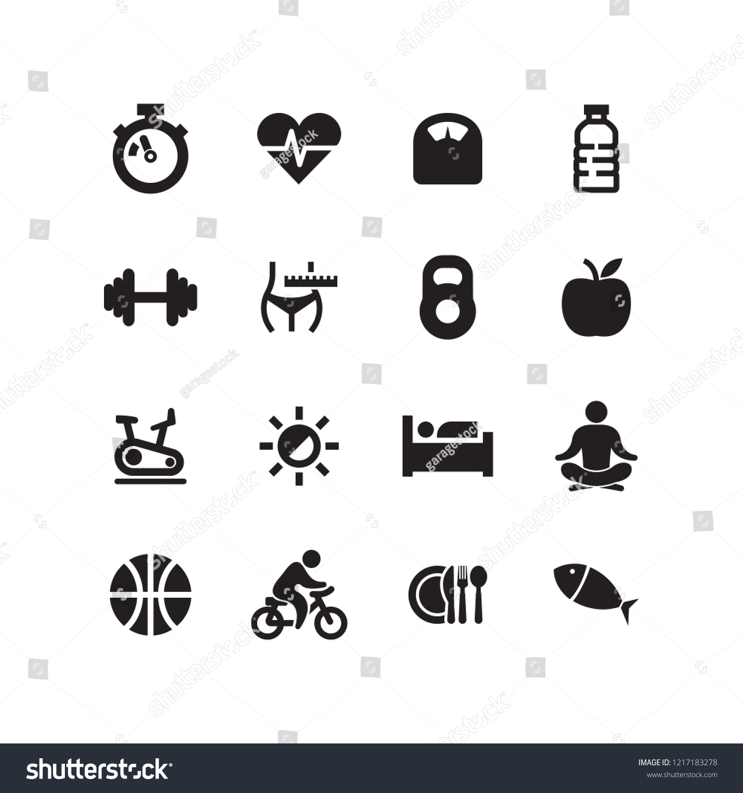 HEALTHY LIFESTYLE AND FITNESS ICON SET