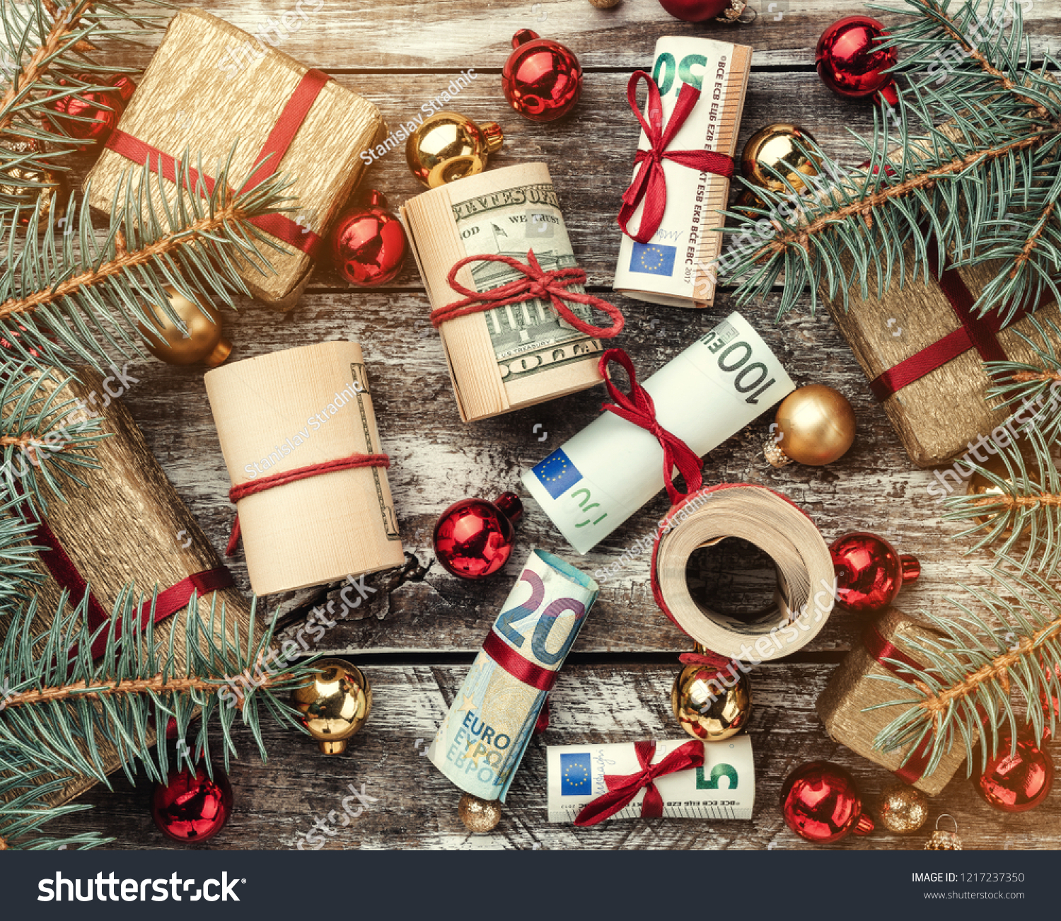 Christmas Background Fir Branches Gifts Baubles Stock Edit