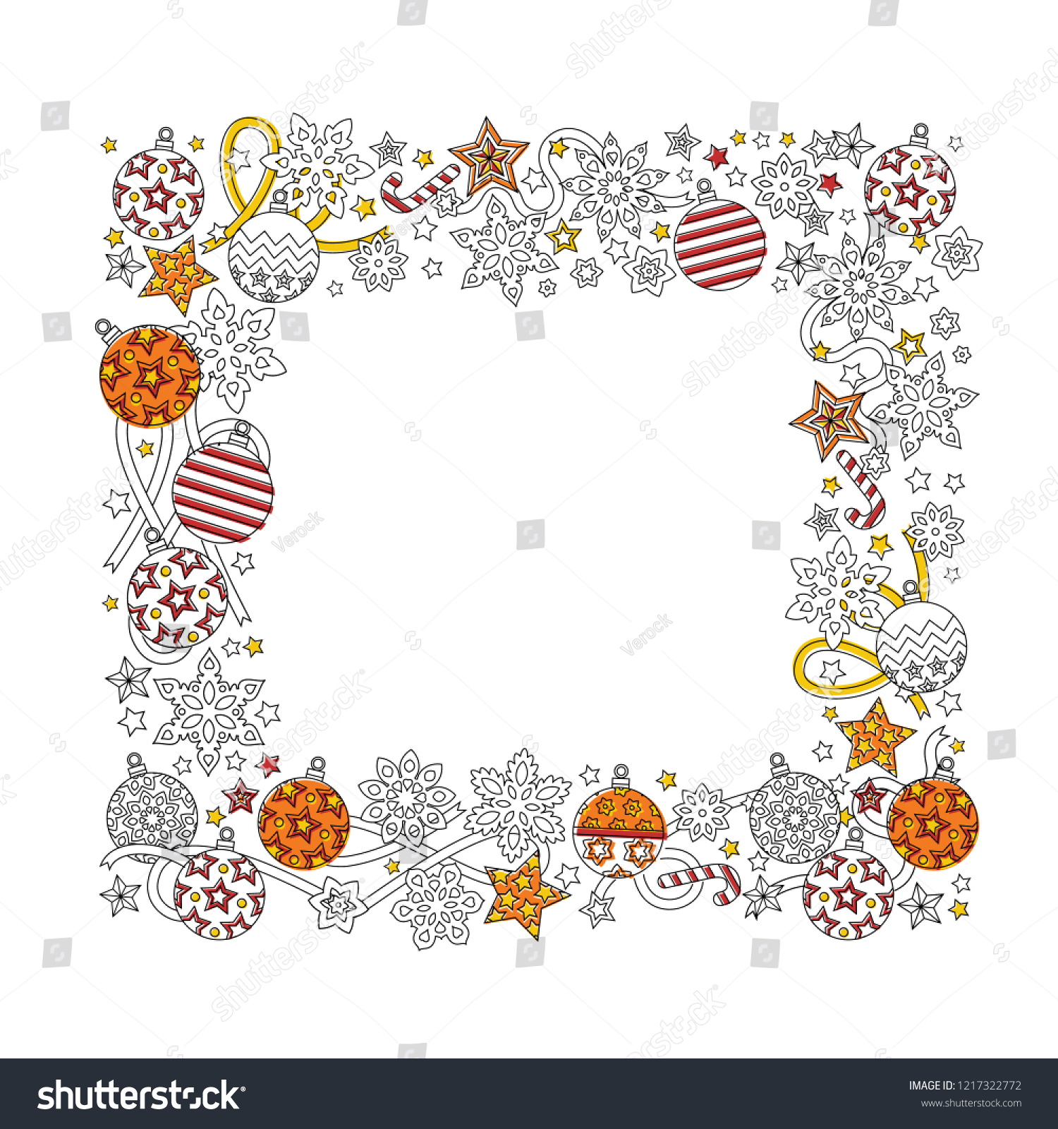 stock vector new year hand drawn square frame in zentangle inspired style isolated on white background