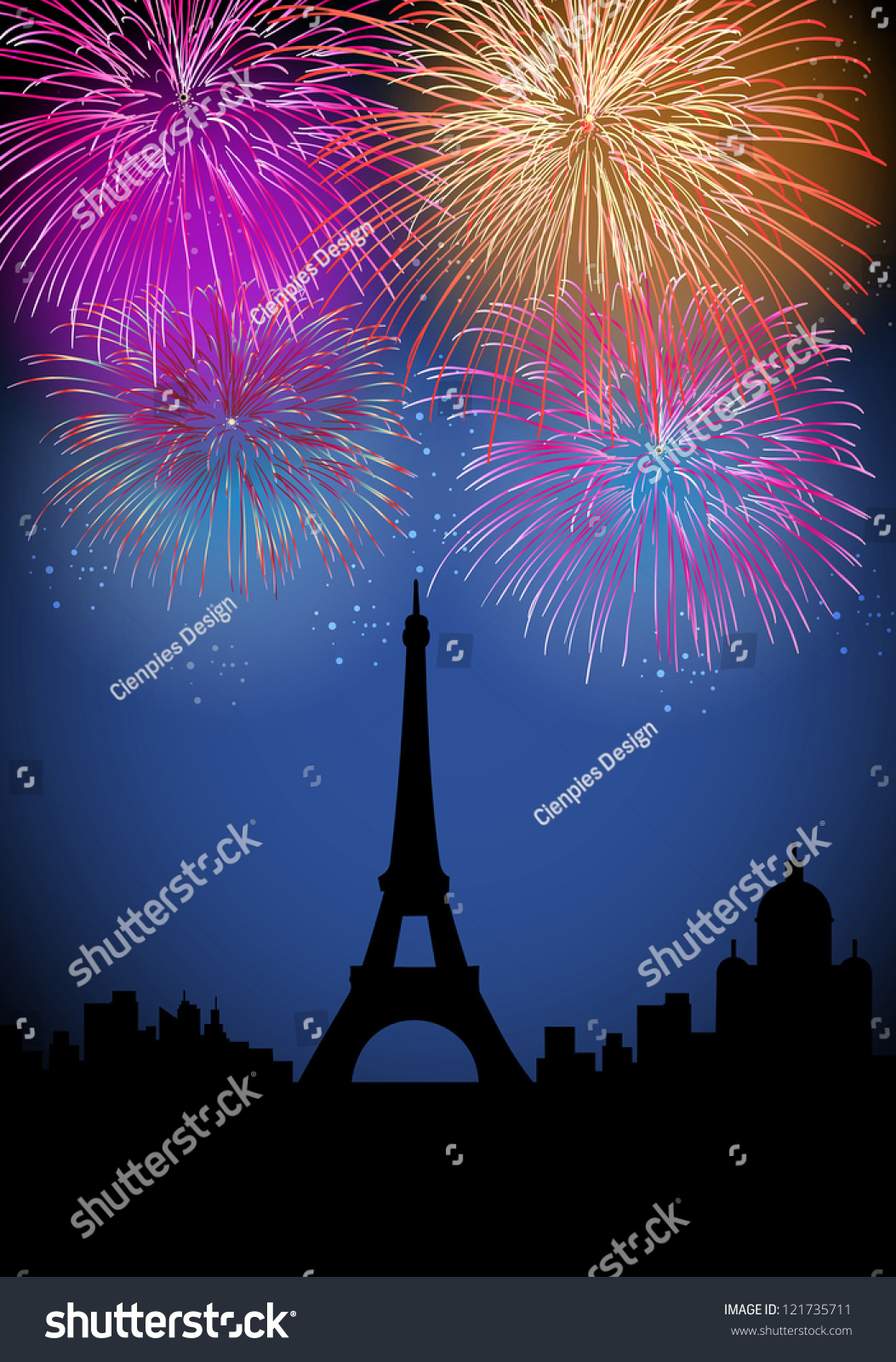 happy new year fireworks paris with eiffel tower silhouette night scene