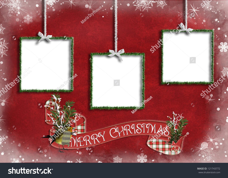 Tinsel Frames Bows Merry Christmas Banner Stock Illustration ...