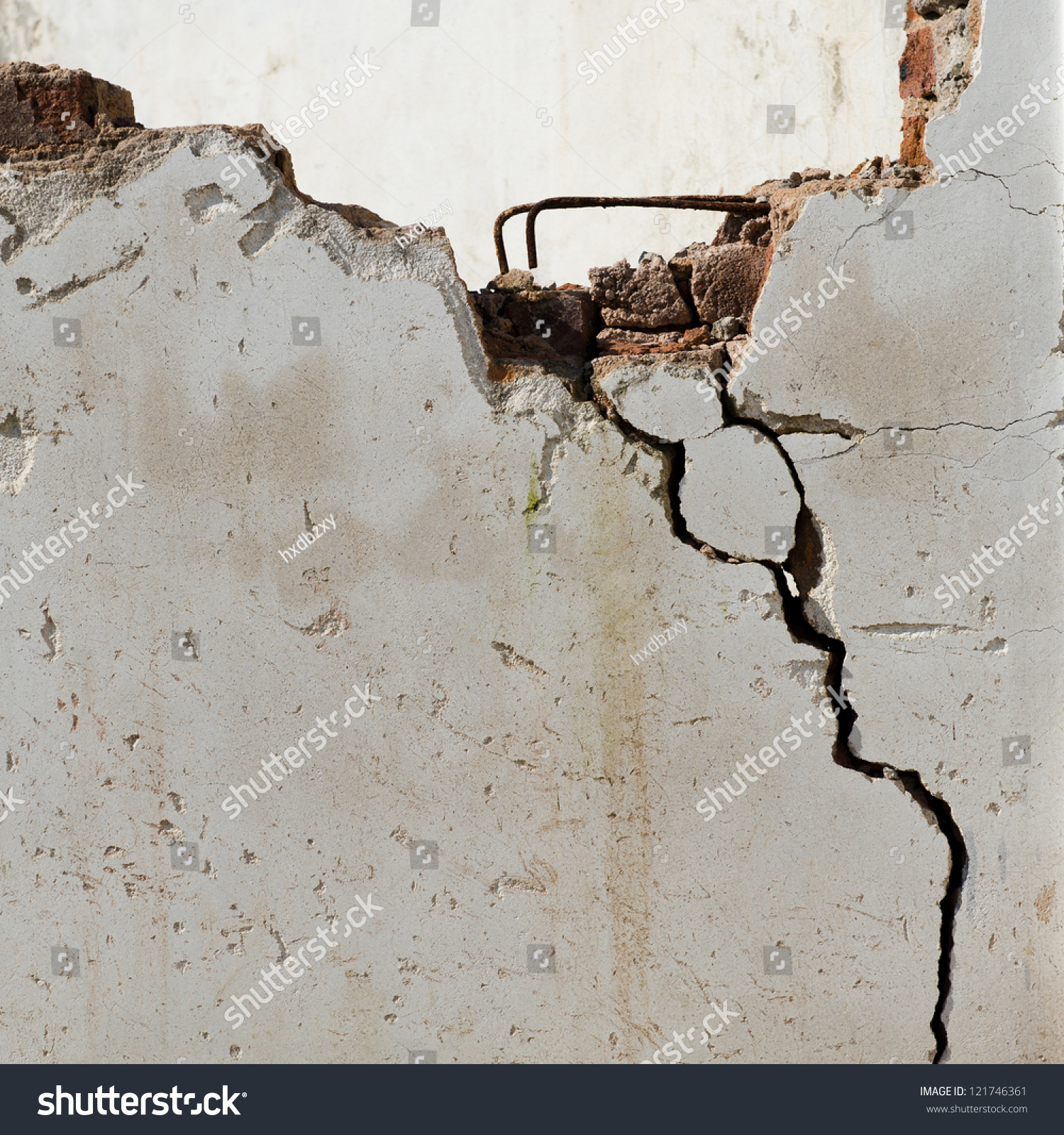 Cracked Concrete Wall Background Stock Photo 121746361