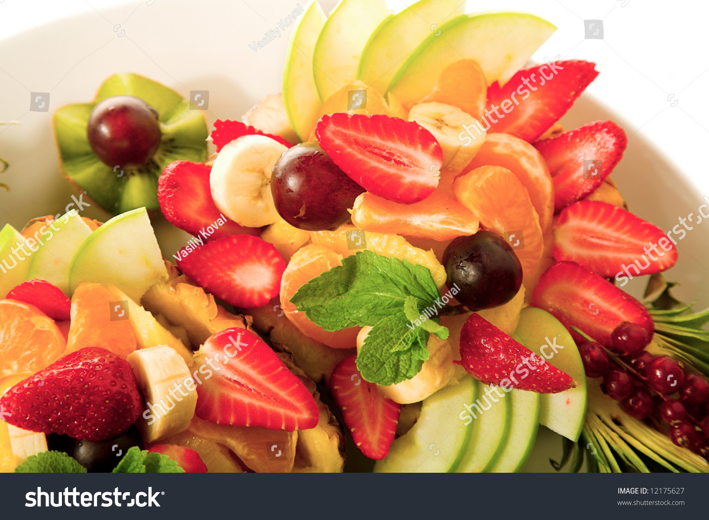 Nice Fresh Fruit Mixture In The Pineapple Stock Photo