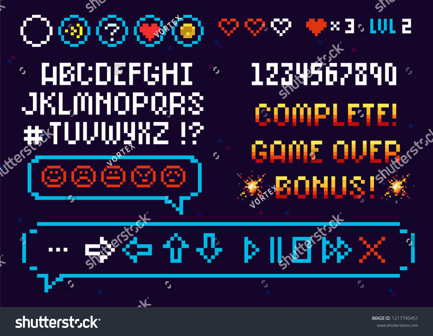 33b71f0d4f72 Pixel Alphabet Font and set icons vector template for arcade game. 8-bit  pixel