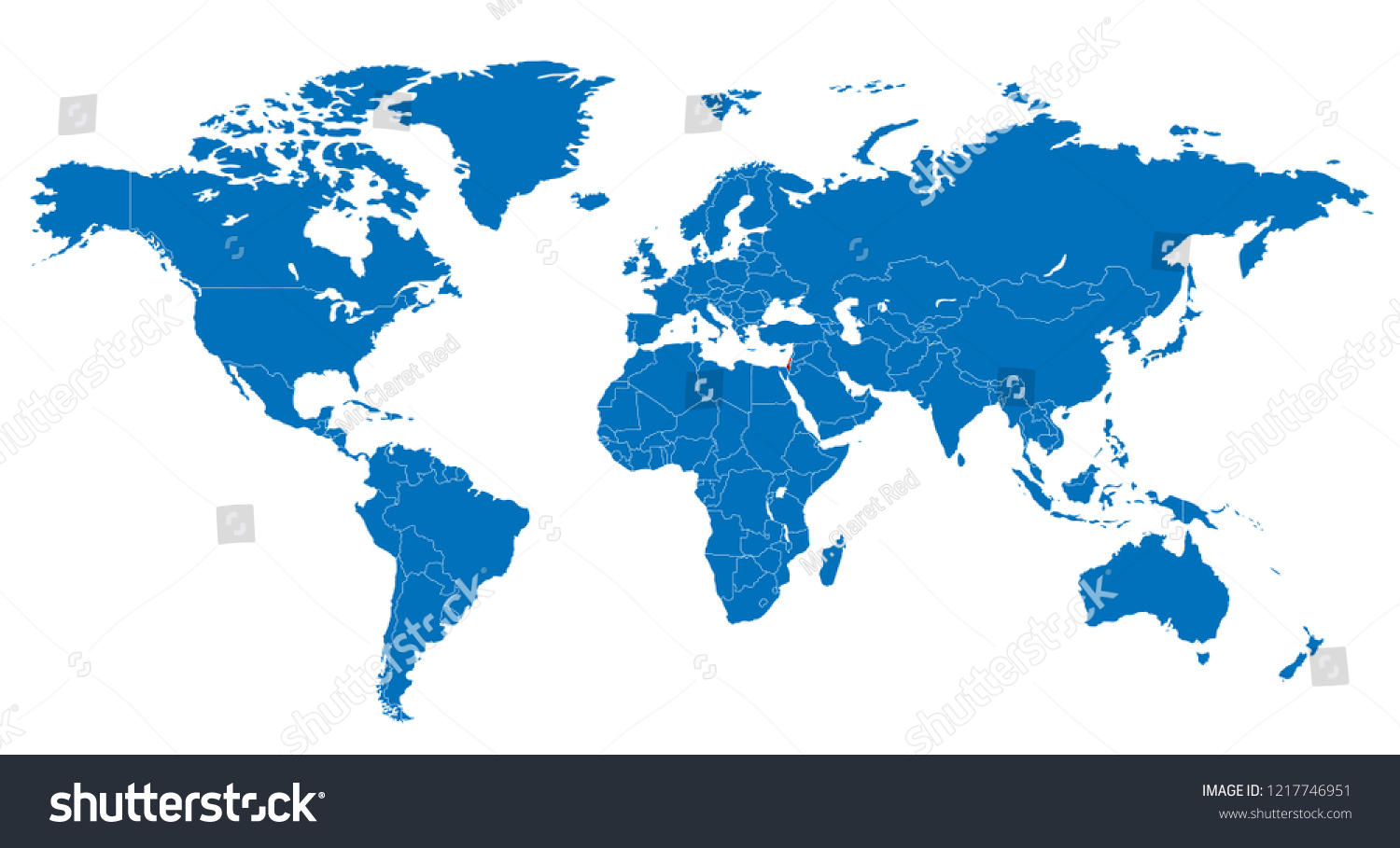 Israel On A Map Of The World.World Israel Map Stock Vector Royalty Free 1217746951 Shutterstock