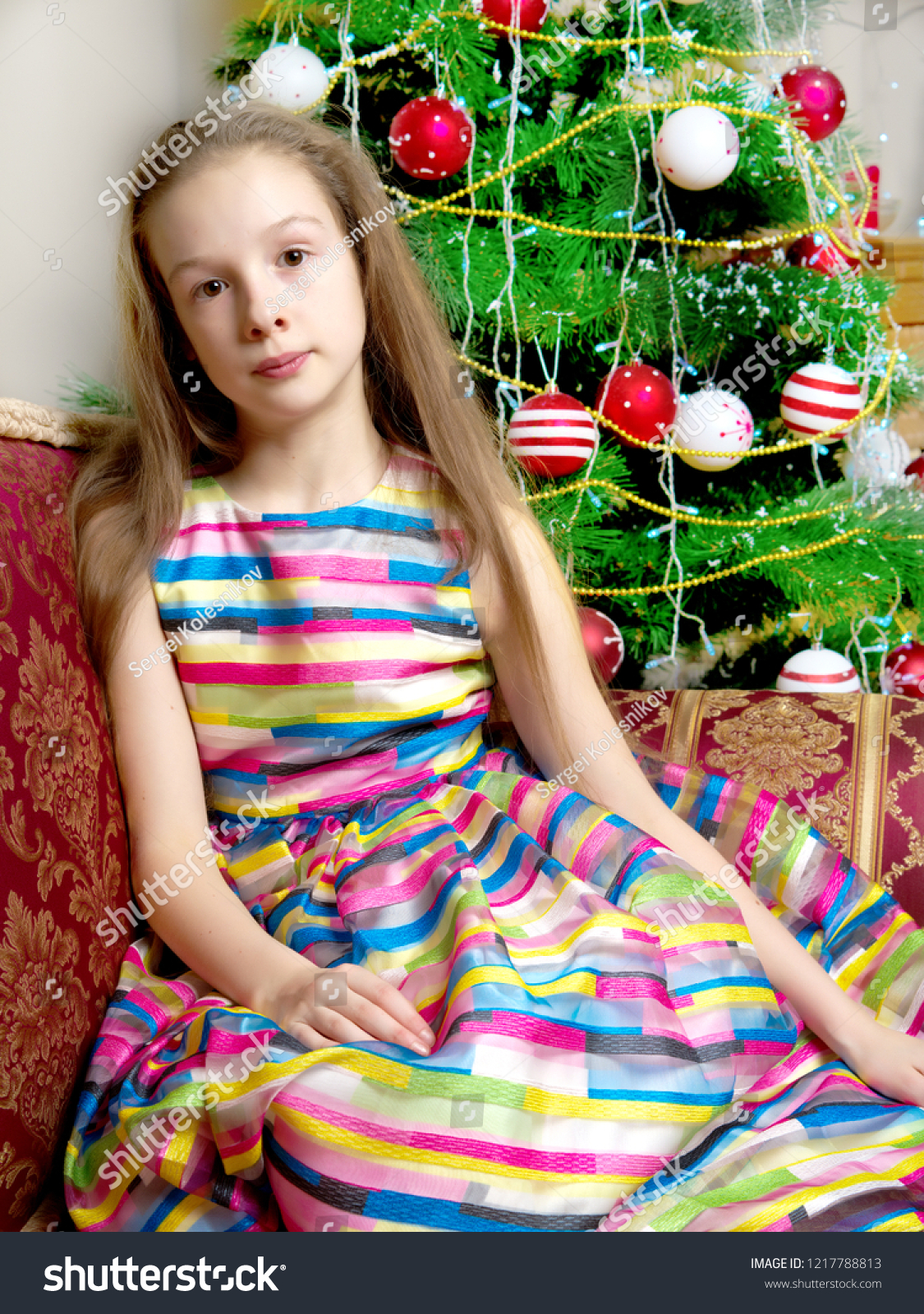 Little Girl New Years Christmas Tree Stock Photo Edit Now