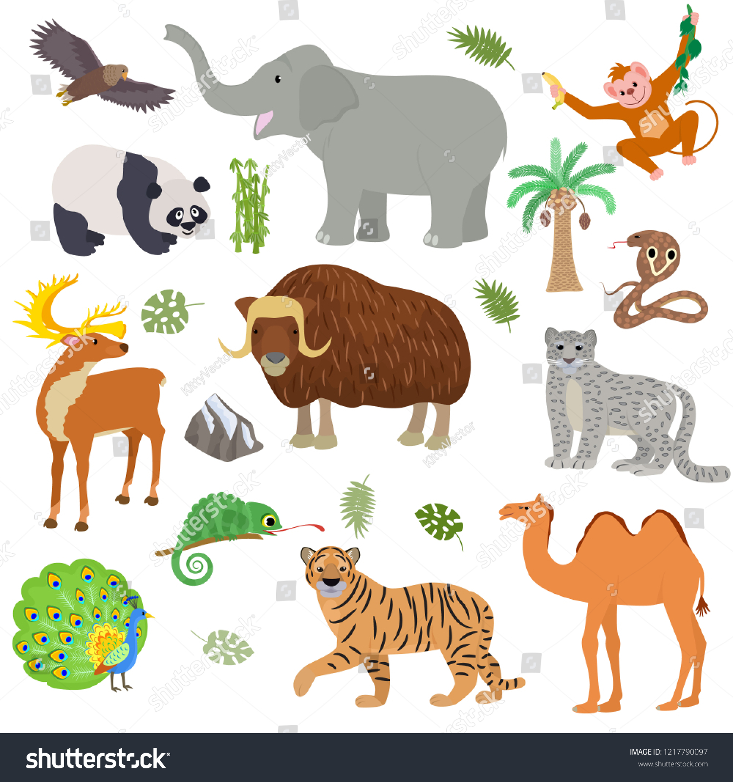 Asian Animal Vector Animalistic Wild Character Stock Vector Royalty