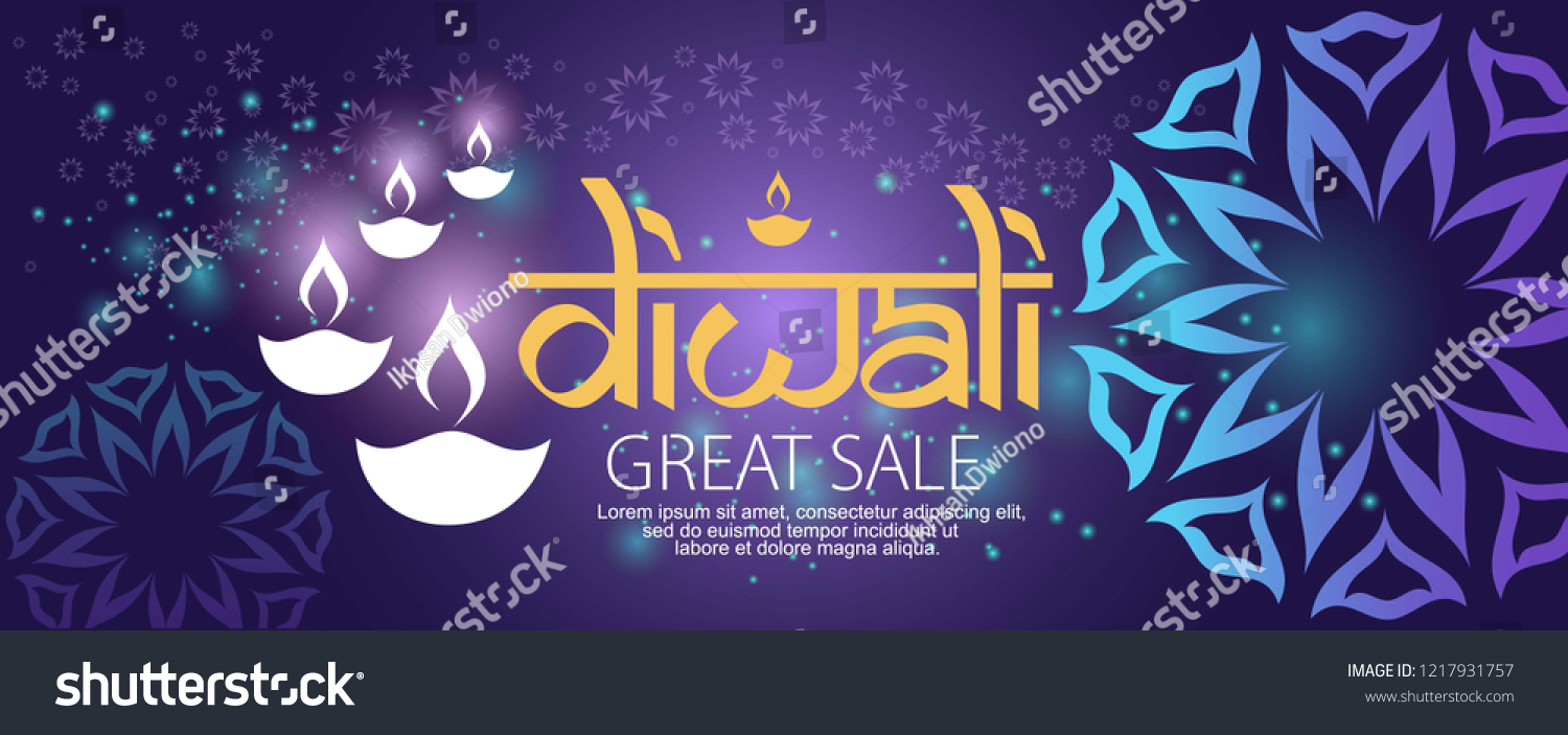 Diwali/Deepavali banner sale,with traditional ornament and diya ( India oil lamp),glowing background and abstract graphic #1217931757