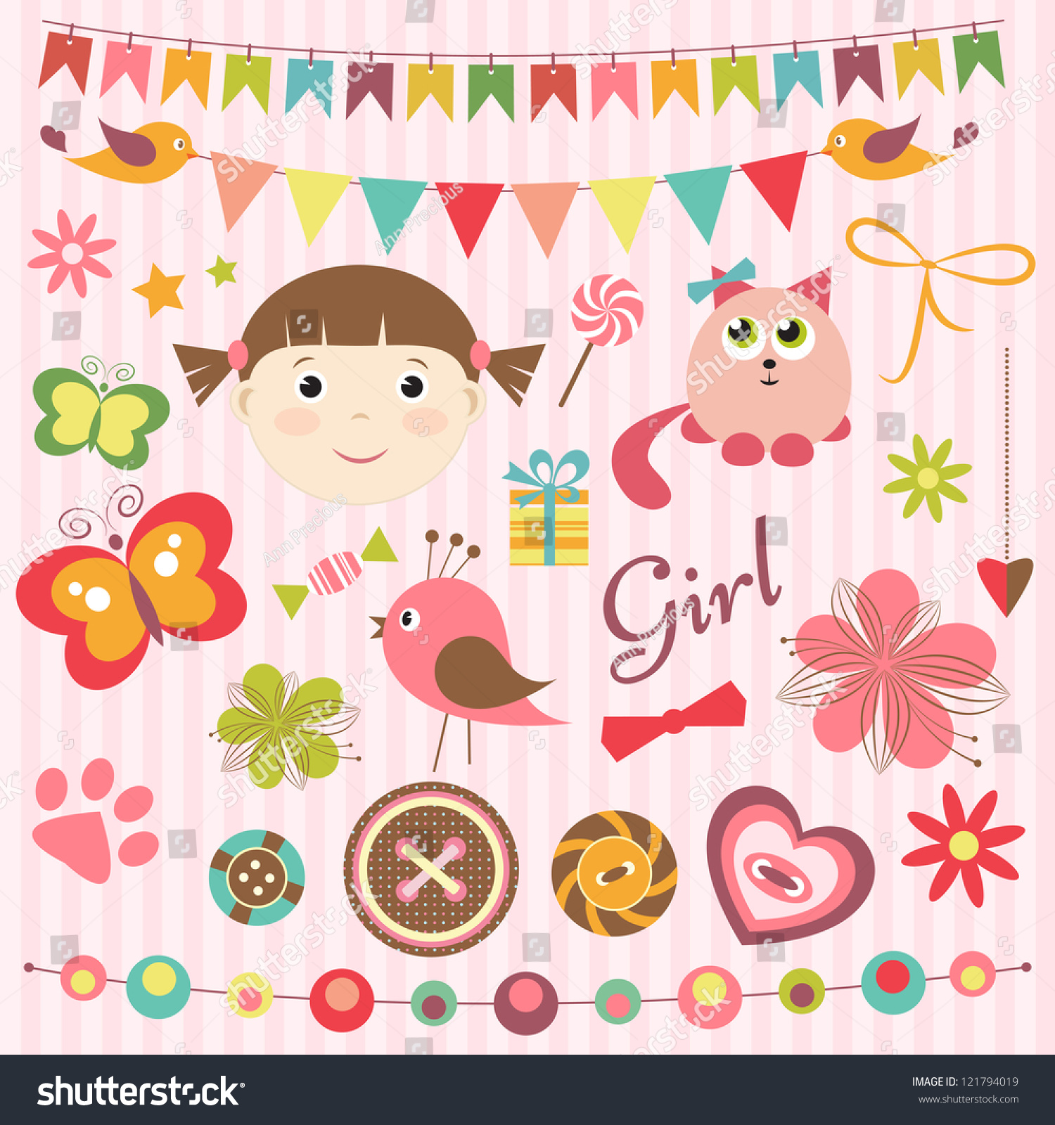 How to scrapbook for baby girl - Scrapbook Baby Girl Set Preview Save To A Lightbox