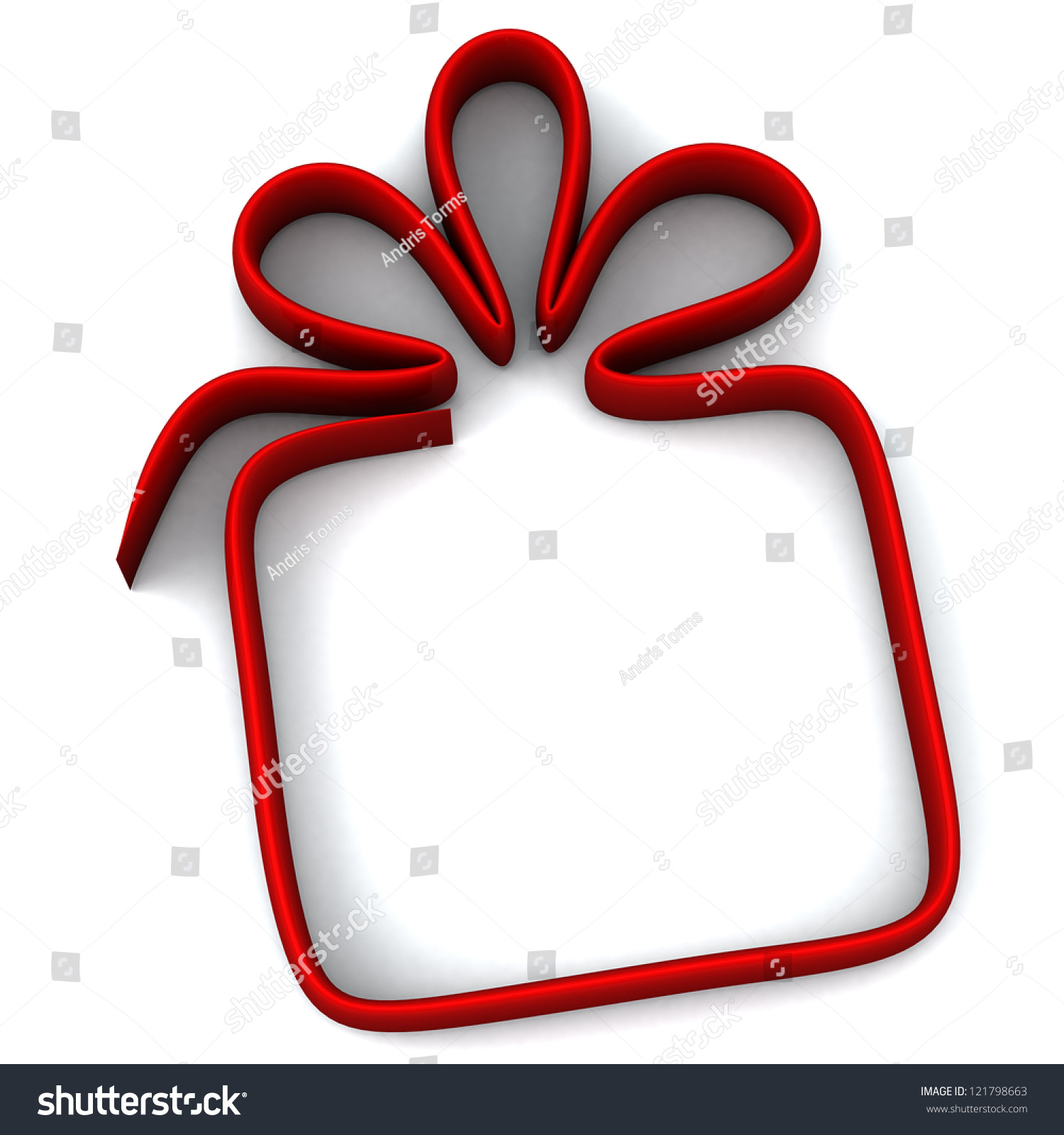 Gift Box Icon Red : Red gift box icon and frame d image stock photo