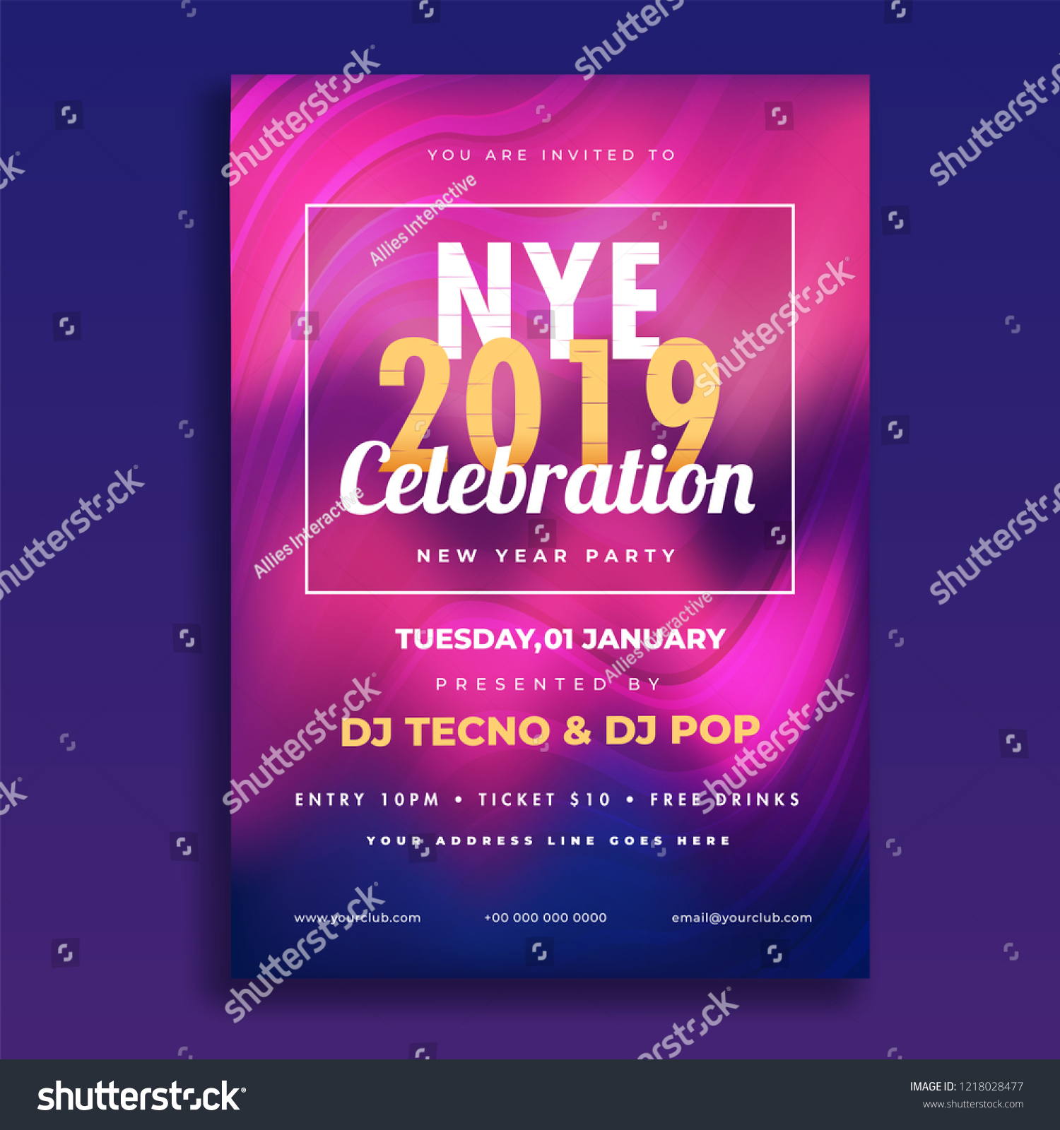 nye new year eve 2019 celebration template or flyer design with time date
