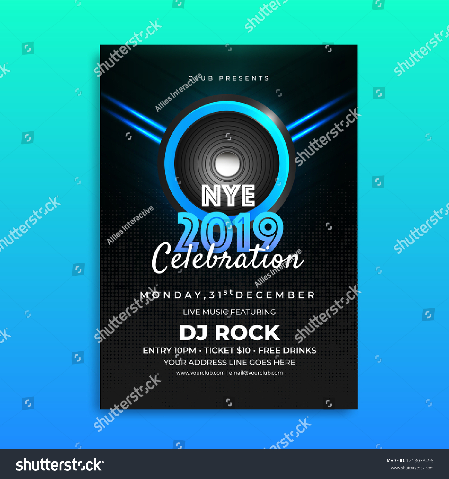 nye new year eve 2019 celebration template design with time date and venue