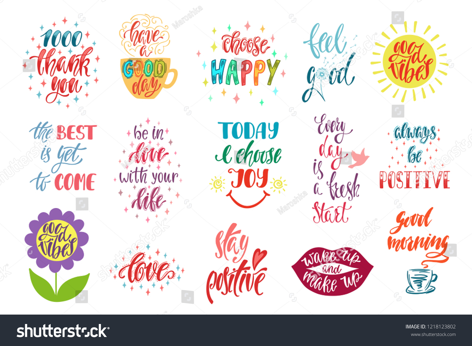 Good Vibes Choose Happy Love Thank Stock Vector Royalty Free