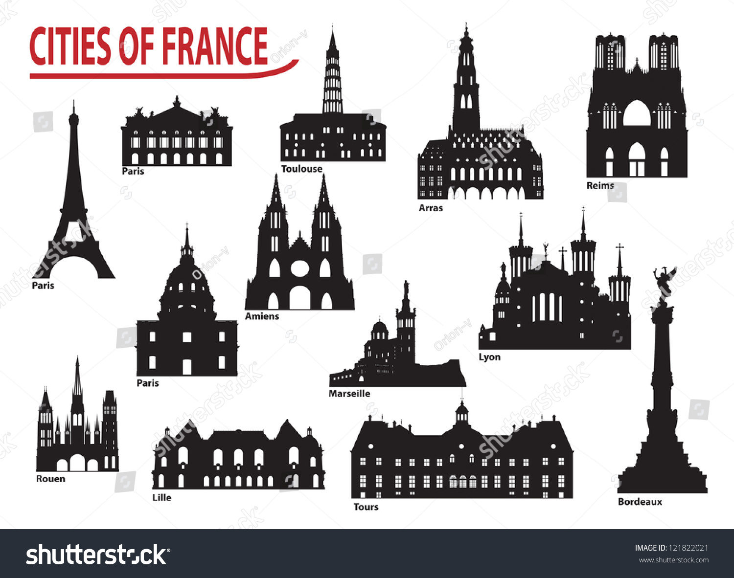 Most Famous Building City France Stock Vector 121822021