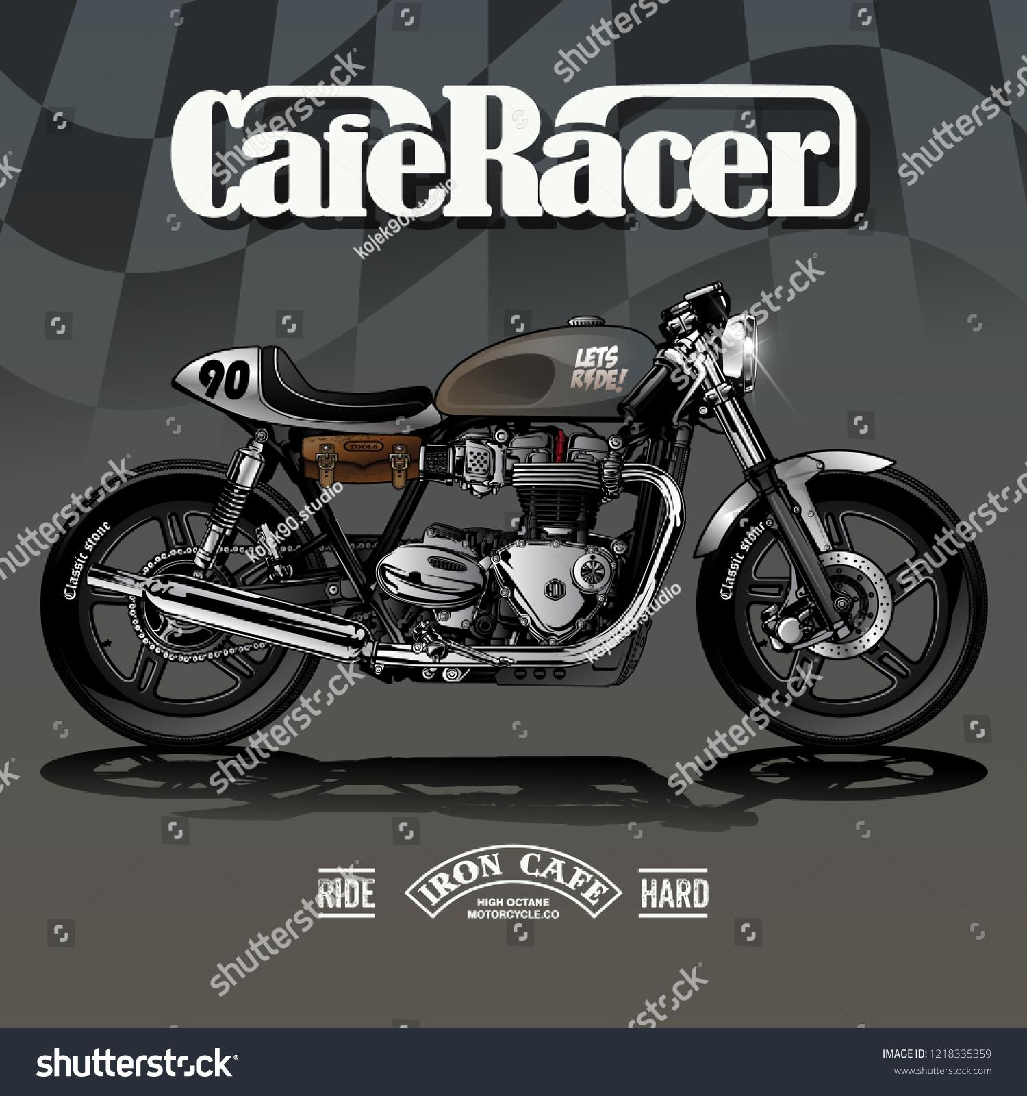 Vintage Cafe Racer Poster Design Stock Vector Royalty Free 1218335359