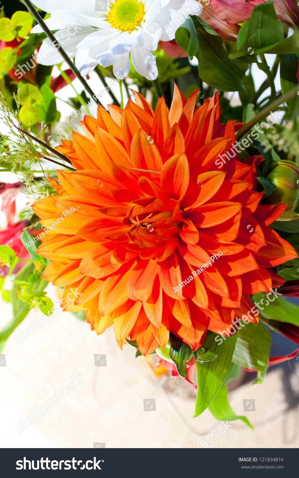 White Orange Green Wedding Flower Arrangements Stock Photo 100