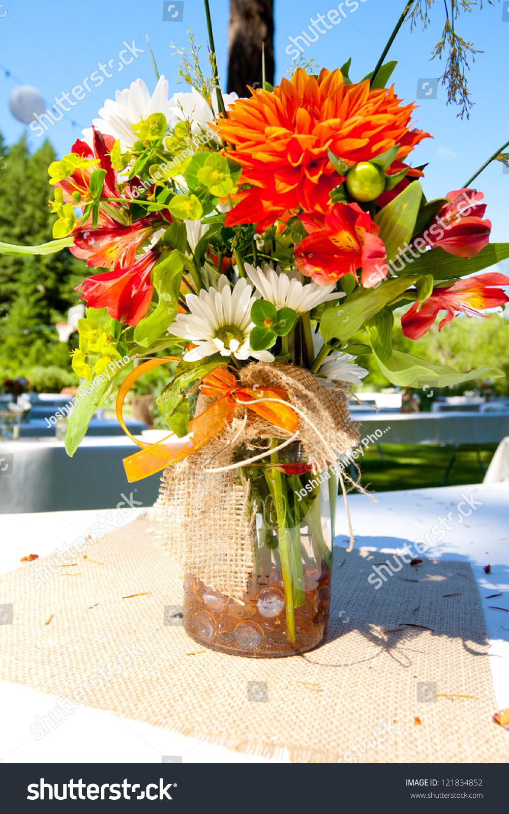 White Orange Green Wedding Flower Arrangements Stock Photo Download