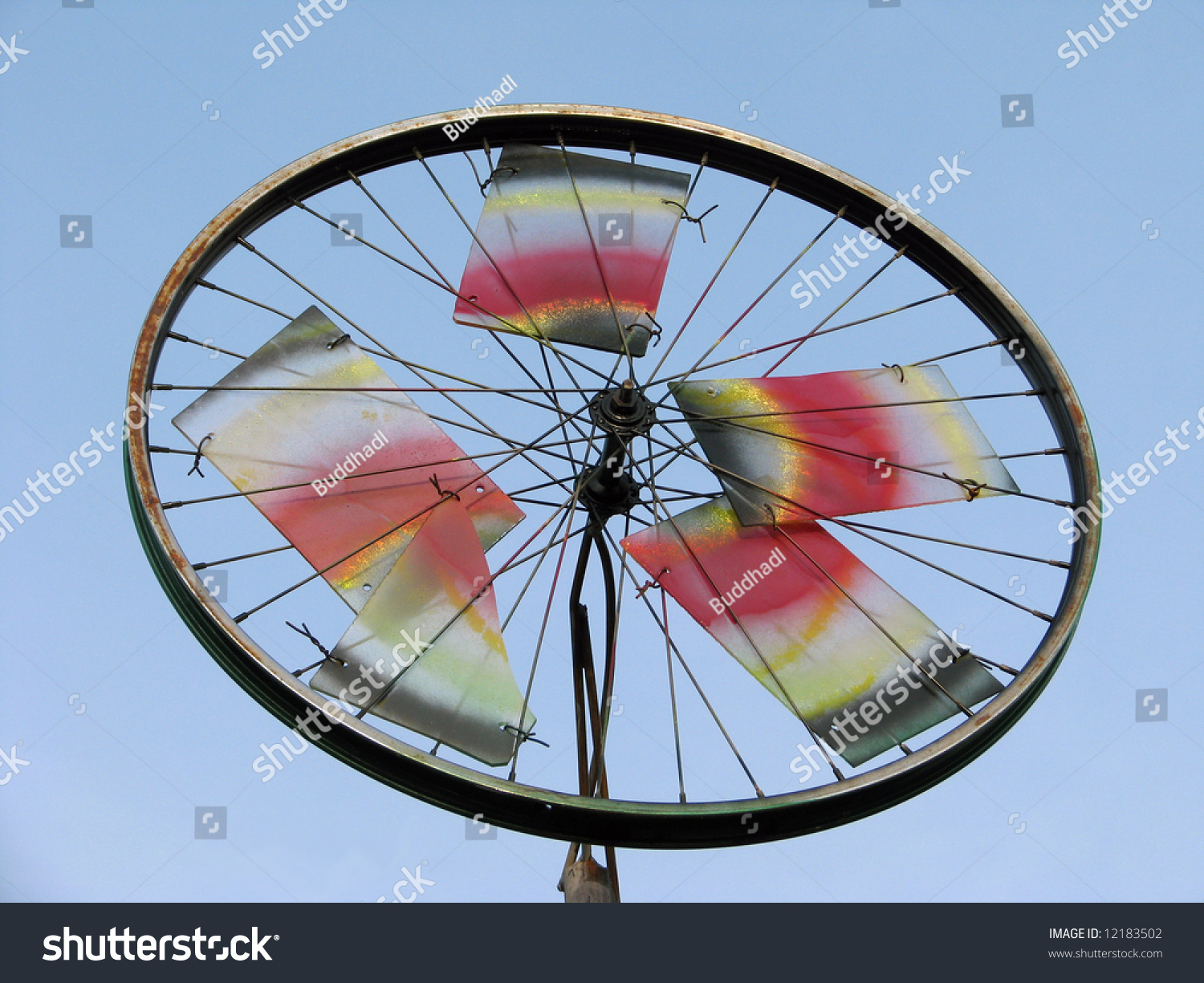 A large pinwheel made from used bicycle wheels and frames for Making bicycle wheels