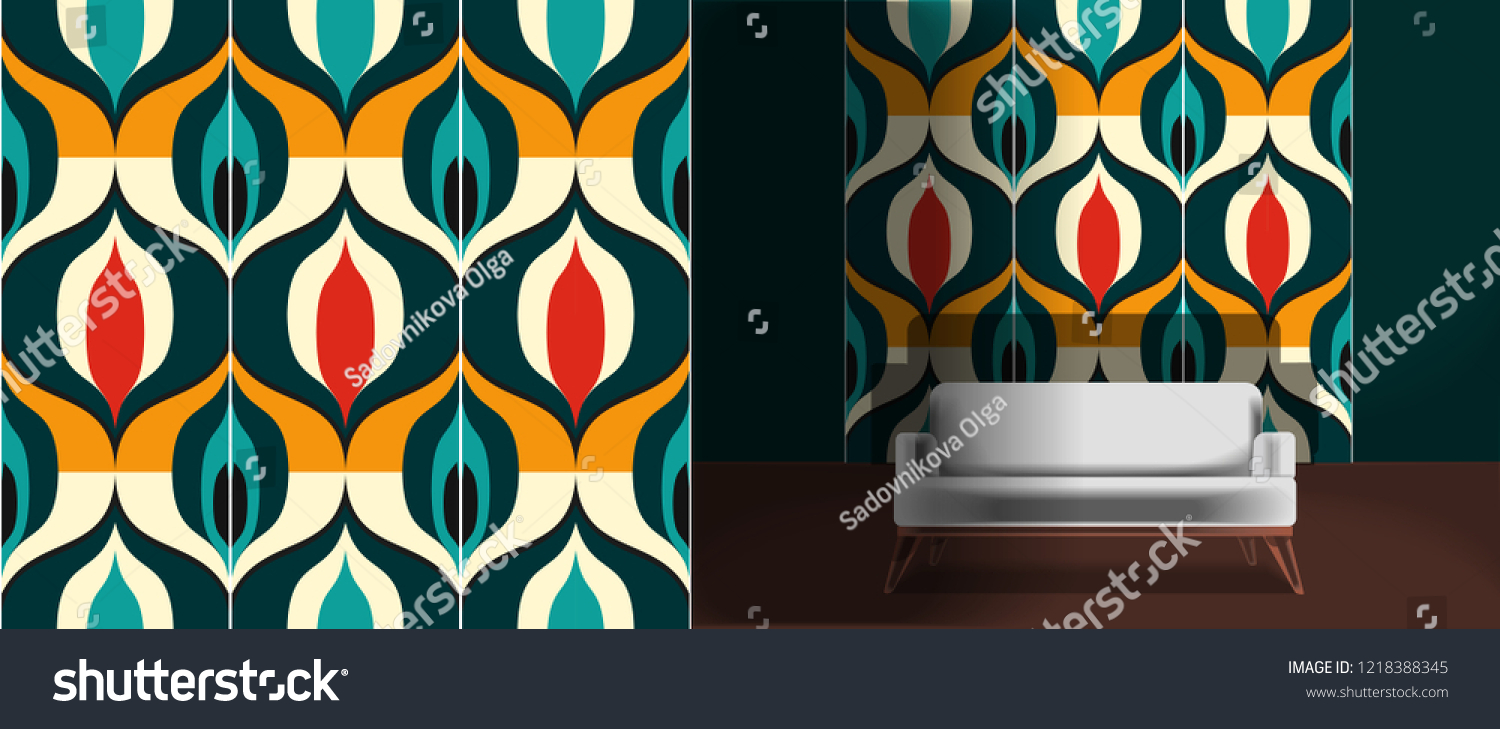 Seamless retro pattern in the style of the sixties. Art deco vintage wallpaper or fabric. Retro interior #1218388345