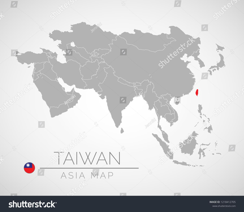 Asia Map Taiwan.Map Asia Identication Taiwan Map Taiwan Stock Vector Royalty Free