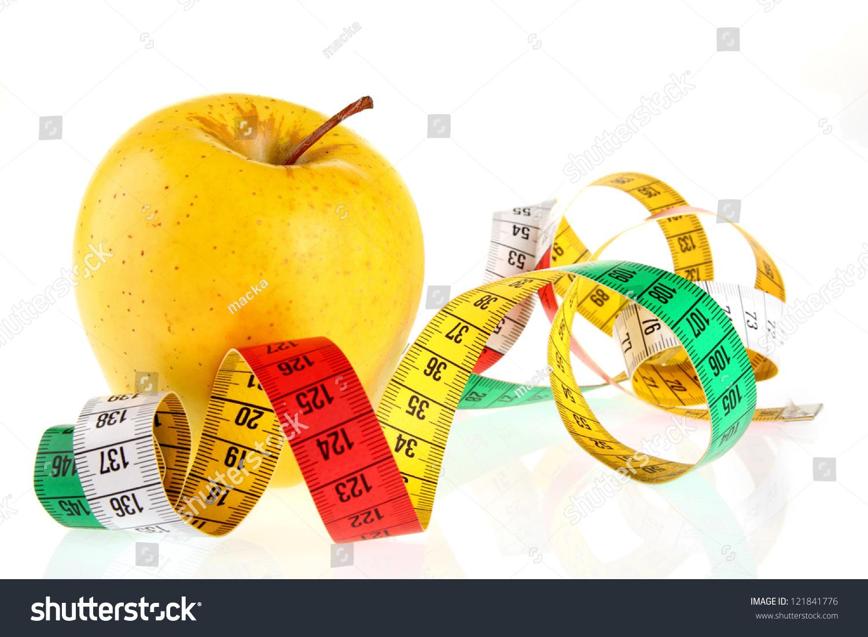 Measuring Tape Wrapped Around Apple Symbol Stock Photo Royalty Free