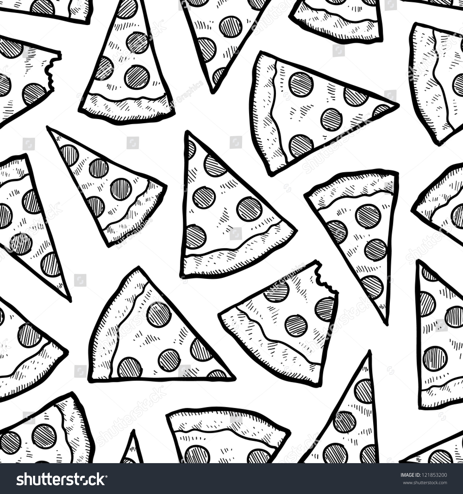 Doodle Style Pizza Slice Seamless Vector Background 121853200